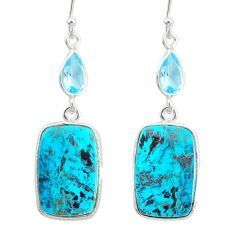 925 silver 17.07cts natural green chrysocolla topaz dangle earrings r86939