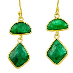 925 silver 14.59cts natural green emerald 14k gold dangle earrings r32595