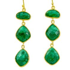 925 silver 27.02cts natural green emerald 14k gold dangle earrings r32676