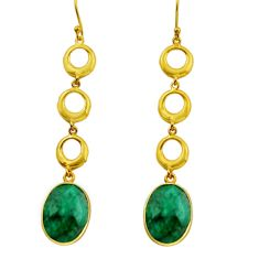 925 silver 19.42cts natural green emerald 14k gold dangle earrings r32728