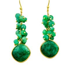 925 silver 35.30cts natural green emerald 14k gold dangle earrings r32774