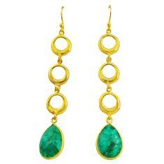 10.77cts natural green emerald 14k gold handmade dangle earrings t11492