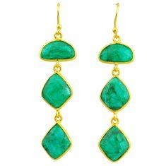 19.18cts natural green emerald 14k gold handmade dangle earrings t11548