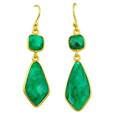13.69cts natural green emerald 14k gold handmade dangle earrings t11656