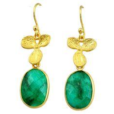 10.65cts natural green emerald 14k gold handmade dangle earrings t11699