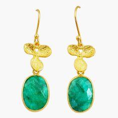 Handmade13.47cts natural green emerald 14k gold dangle earrings t16418