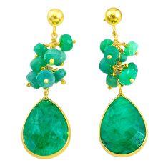 Handmade21.66cts natural green emerald 14k gold dangle earrings t16595