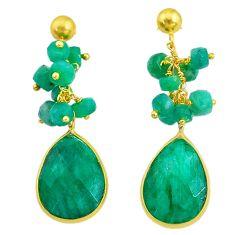 Handmade22.30cts natural green emerald 14k gold dangle earrings t16598