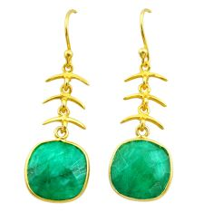 925 silver 11.73cts natural green emerald 14k gold dangle earrings t44064