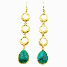 925 silver 11.25cts natural green emerald 14k gold dangle earrings t44124