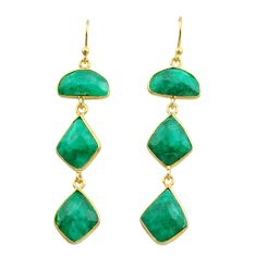 925 silver 16.97cts natural green emerald 14k gold dangle earrings t44147