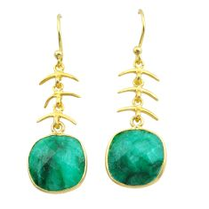 925 silver 10.15cts natural green emerald 14k gold dangle earrings t44170