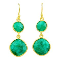 925 silver 12.46cts natural green emerald 14k gold dangle earrings t44184