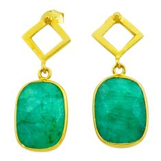 925 silver 11.73cts natural green emerald 14k gold dangle earrings t44196