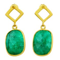 925 silver 11.70cts natural green emerald 14k gold dangle earrings t44210