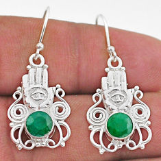 925 silver 2.44cts natural green emerald hand of god hamsa earrings t47044