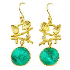11.62cts natural green emerald topaz 14k gold handmade dangle earrings t11524