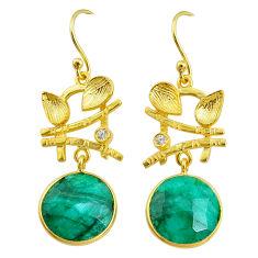 11.54cts natural green emerald topaz 14k gold handmade dangle earrings t11527