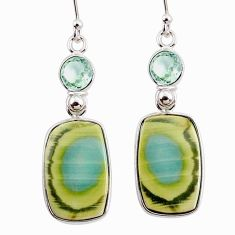 925 silver 14.91cts natural green imperial jasper amethyst earrings r75766