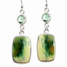 925 silver 15.43cts natural green imperial jasper amethyst earrings r75771
