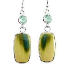 925 silver 14.85cts natural green imperial jasper amethyst earrings r75774