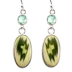 925 silver 12.99cts natural green imperial jasper amethyst earrings r75779