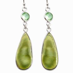 925 silver 16.74cts natural green imperial jasper amethyst earrings r75784