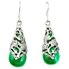 925 silver natural green malachite (pilots stone) dangle earrings c11599