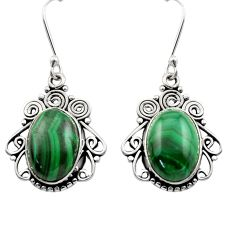 925 silver 13.41cts natural green malachite (pilot's stone) earrings d40998