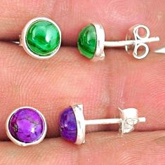 925 silver 5.70cts natural green malachite (pilot's stone) stud earrings r81549