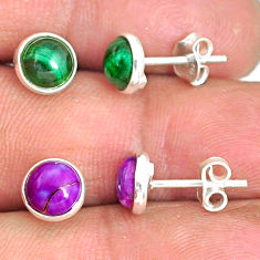 925 silver 5.27cts natural green malachite (pilot's stone) stud earrings r81571