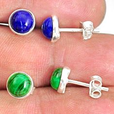 925 silver 6.65cts natural green malachite (pilot's stone) stud earrings r81599