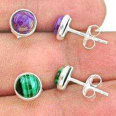 925 silver 4.46cts natural green malachite (pilot's stone) stud earrings t23944