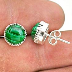 925 silver 6.72cts natural green malachite (pilot's stone) stud earrings t43730