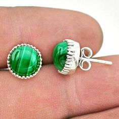 925 silver 6.68cts natural green malachite (pilot's stone) stud earrings t43745