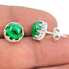925 silver 7.15cts natural green malachite crown stud earrings t43686
