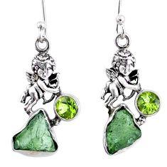 925 silver 9.05cts natural green moldavite (genuine czech) angel earrings r57265