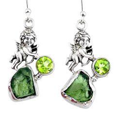 925 silver 9.86cts natural green moldavite (genuine czech) angel earrings r57268