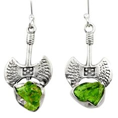 925 silver 9.63cts natural green moldavite (genuine czech) earrings r29527