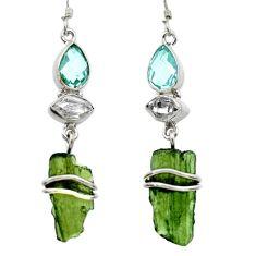 925 silver 15.02cts natural green moldavite (genuine czech) earrings r29538