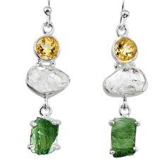 925 silver 16.65cts natural green moldavite (genuine czech) earrings r56944