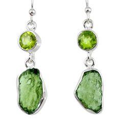 925 silver 11.11cts natural green moldavite (genuine czech) earrings r56957