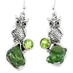 925 silver 10.70cts natural green moldavite (genuine czech) owl earrings r57332