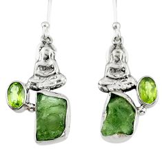 925 silver 8.77cts natural green moldavite fancy buddha charm earrings r57252