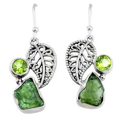 925 silver 8.91cts natural green moldavite peridot deltoid leaf earrings r57284