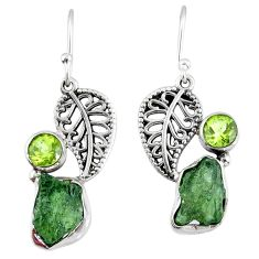 925 silver 9.56cts natural green moldavite peridot deltoid leaf earrings r57289