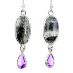 925 silver 11.26cts natural green moss agate amethyst dangle earrings r68304