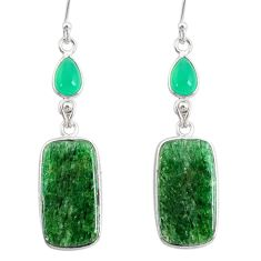 925 silver 21.01cts natural green moss agate chalcedony dangle earrings r86765