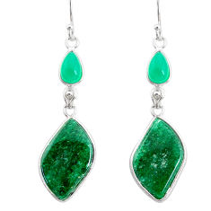 925 silver 19.76cts natural green moss agate chalcedony dangle earrings r86768