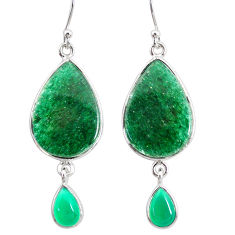 925 silver 18.39cts natural green moss agate chalcedony dangle earrings r86773